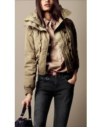 Burberry Brit - Brown Quilted Collar Oversize Jacket - Lyst