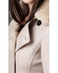 Burberry | Beige Fur Collar Full Skirt Coat | Lyst