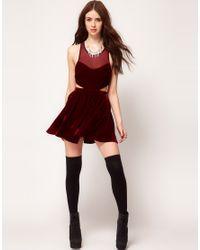 MINKPINK | Red Snow Palace Cut Out Velvet Skater Dress | Lyst