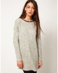 Whistles | Gray Textured Tunic with Neck Detail | Lyst