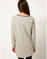 Whistles - Gray Textured Tunic with Neck Detail - Lyst
