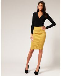 ASOS Collection | Yellow Asos Tailored High Waist Seamed Pencil Skirt | Lyst