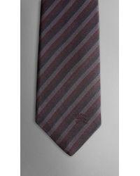 Burberry | Purple Silk Stripe Tie for Men | Lyst