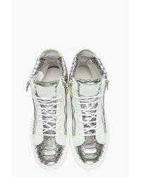 Giuseppe Zanotti | Metallic Silver Scaled London Sneakers for Men | Lyst