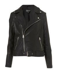 TOPSHOP | Black Oversized Belted Biker Jacket | Lyst
