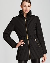 Via Spiga | Black Belted Down Feather Coat | Lyst
