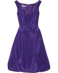 Oscar de la Renta | Purple Bow Embellished Silk Faille Dress | Lyst