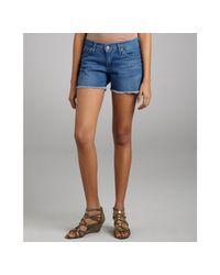 James Jeans | Teal Blue Stretch Denim Shorty Frayed Shorts | Lyst