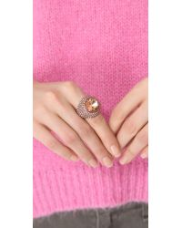 Juicy Couture - Pink Gemstone Cocktail Ring - Lyst