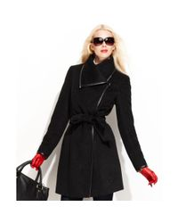 Vince Camuto | Black Asymmetrical Collar Belted Trench Coat | Lyst