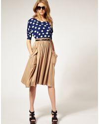 ASOS Collection - Natural Asos Drapey Pocket Elasticated Waist Midi Skirt - Lyst