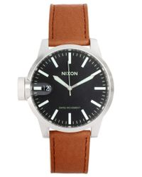 Nixon | Brown Chronicle Leather Watch for Men | Lyst
