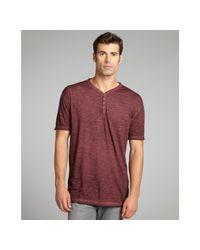 John Varvatos | Purple Merlot Slub Cotton Short Sleeve Henley for Men | Lyst