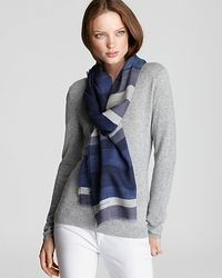 Burberry - Blue Overprinted Stripe Wool Scarf - Lyst