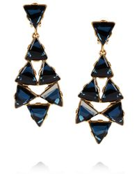 Oscar de la Renta | Metallic 24karat Gold Plated Swarovski Crystal Clip Earrings | Lyst
