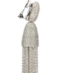 Oscar de la Renta   Silver Tone Chain Tassel Clip Earrings   Lyst