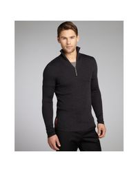 Prada | Black Anthracite Ribbed Wool Zip Neck Sweater for Men | Lyst
