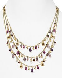 Ralph Lauren - Metallic Lauren Three Row Drop Necklace   - Lyst