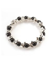 Shaun Leane | Metallic Silver Vertebrae and Black Onyx Bead Bracelet for Men | Lyst
