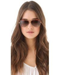 Tory Burch | Orange Leather Covered Aviator Sunglasses | Lyst