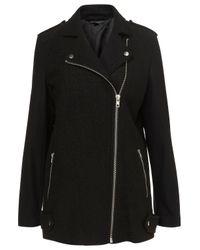 TOPSHOP | Black Boiled Wool Biker Coat | Lyst