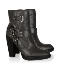Belle By Sigerson Morrison | Gray Shearling-lined Suede Ankle Boots | Lyst