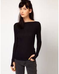 Cheap Monday | Black Long Sleeve Top with Slash Neck and Thumb Holes | Lyst