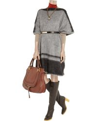 Chloé - Gray Oversized Knitted Blanket Poncho - Lyst