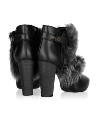 Donna Karan | Black Shearling-trimmed Leather Ankle Boots | Lyst