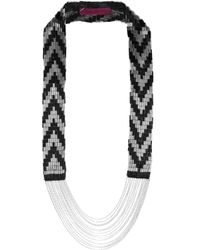 Fiona Paxton | Black Coco Bead and Chainembellished Cottonmesh Necklace | Lyst