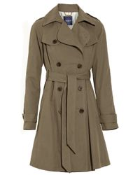 Gryphon | Green Pleated Cotton-blend Trench Coat | Lyst