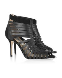 Jimmy Choo   Black Mandy Leather Cage Sandals   Lyst