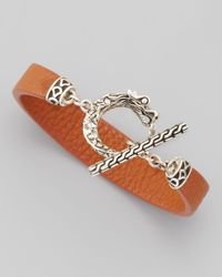 John Hardy - Brown Naga Toggle Leather Bracelet Cognac for Men - Lyst