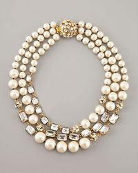kate spade new york | White Party Pearl Bead Triple Strand Necklace | Lyst