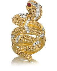 Kenneth Jay Lane | Metallic Goldplated Crystal Serpent Ring | Lyst