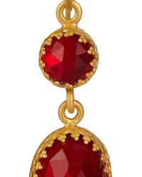 Kevia - Red Gold-Plated Crystal Earrings - Lyst