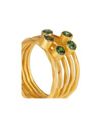 Kevia - Green Set Of Five 22karat Gold-Plated Emerald Rings - Lyst