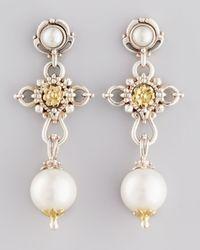 Konstantino | White Kassandra Pearl Cross Drop Earrings | Lyst