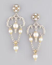 Konstantino | White Kassandra Upsidedown Triangle Pearl Earrings | Lyst