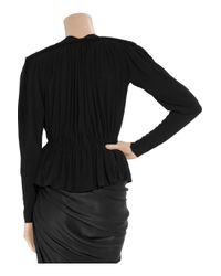 Lanvin - Black Ruched Stretch-crepe Jacket - Lyst