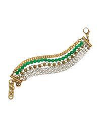 Lulu Frost | Green Embellished Multistrand Bracelet | Lyst