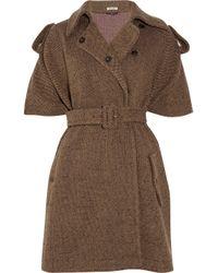 Miu Miu | Brown Woolblend Tweed Cape | Lyst