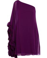 Notte by Marchesa - Purple One-shoulder Silk-chiffon Dress - Lyst