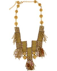 Oscar de la Renta - Metallic Bead Embellished Metal Necklace - Lyst