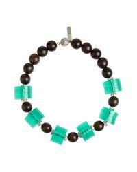 Oscar de la Renta - Blue Wood and Acetate Necklace - Lyst
