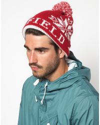 Penfield - Red Dumont Bobble Hat for Men - Lyst