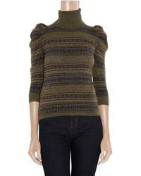 Ralph Lauren Black Label - Green Mutton-sleeve Cashmere Turtleneck Sweater - Lyst