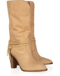Ralph Lauren Collection | Brown Nala Mid-calf Brushed-leather Boots | Lyst