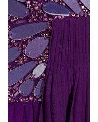 Roberto Cavalli | Purple Embellished Silk-Chiffon Bustier Gown | Lyst