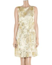 Lyst Rochas Brocade Satin Dress In Metallic